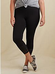 Crop Premium Legging - Perforated Hem Black, BLACK, hi-res