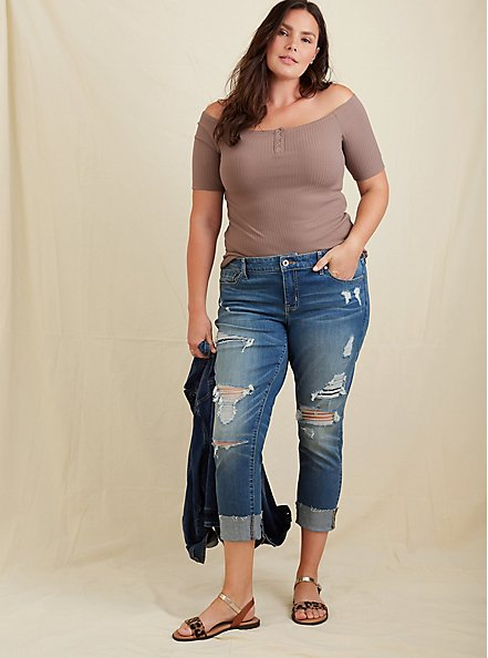 Dark Taupe Rib Off Shoulder Henley Tee, DEEP TAUPE, alternate