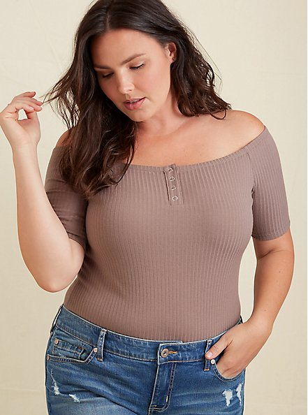 Dark Taupe Rib Off Shoulder Henley Tee, DEEP TAUPE, hi-res