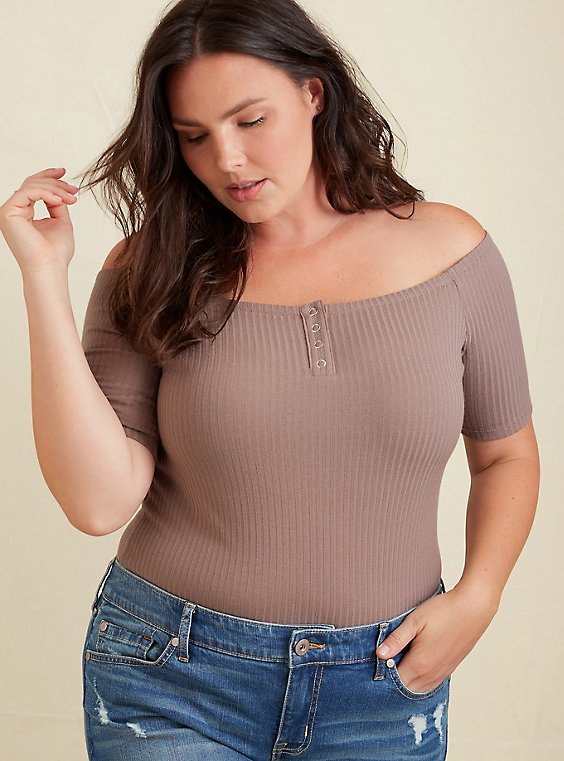 Dark Taupe Rib Off Shoulder Henley Tee, , hi-res