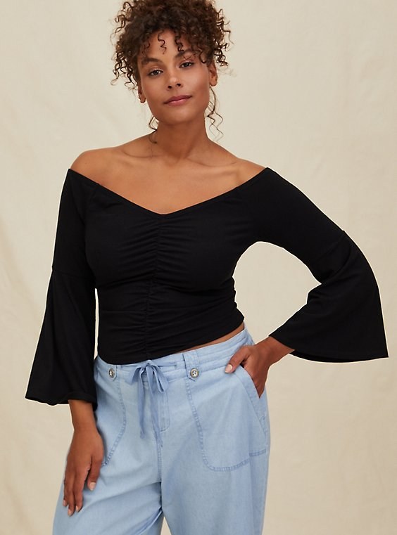 Black Rib Bell Sleeve Midi Off Shoulder Top, , hi-res