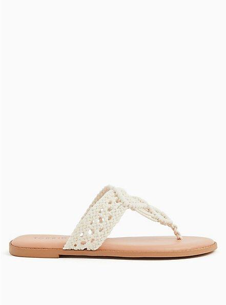 Plus Size Ivory Macrame Sandal (WW), IVORY, alternate