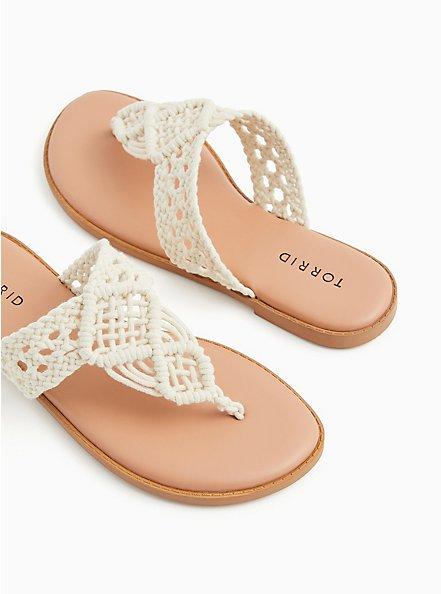 Plus Size Ivory Macrame Sandal (WW), IVORY, hi-res