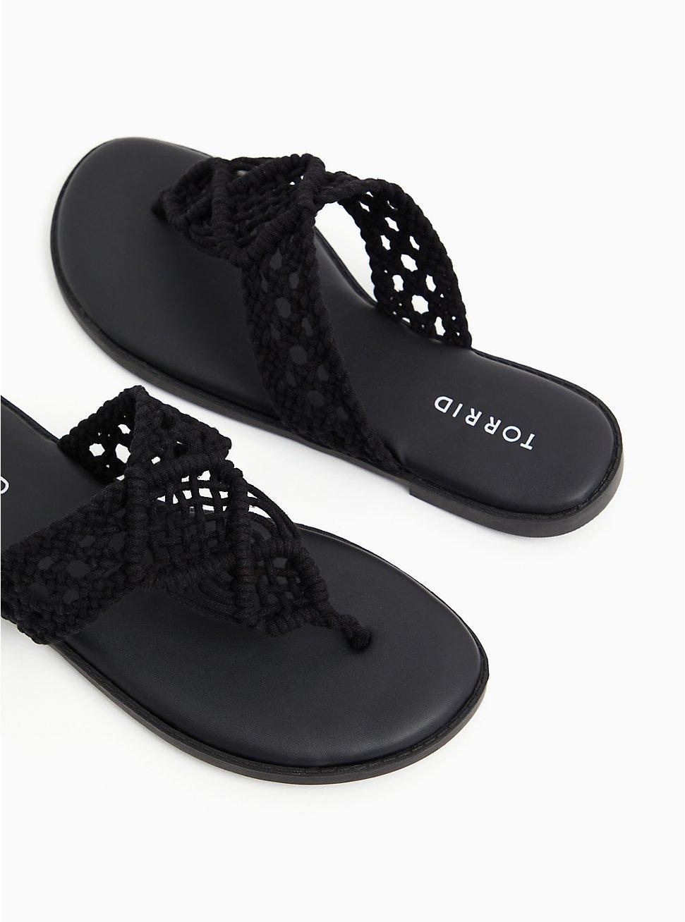 Black Macrame Sandal (WW), BLACK, hi-res