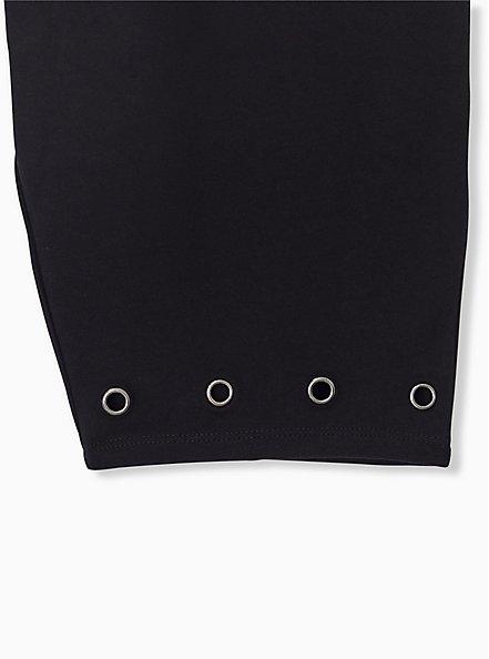 Plus Size Black Grommet Bike Short, BLACK, alternate