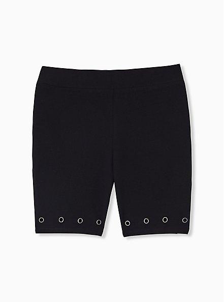 Plus Size Black Grommet Bike Short, BLACK, hi-res