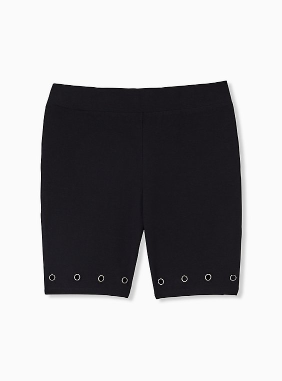 Plus Size Black Grommet Bike Short, , hi-res