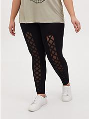 Premium Legging - Front Lattice Mesh Underlay Black, BLACK, alternate