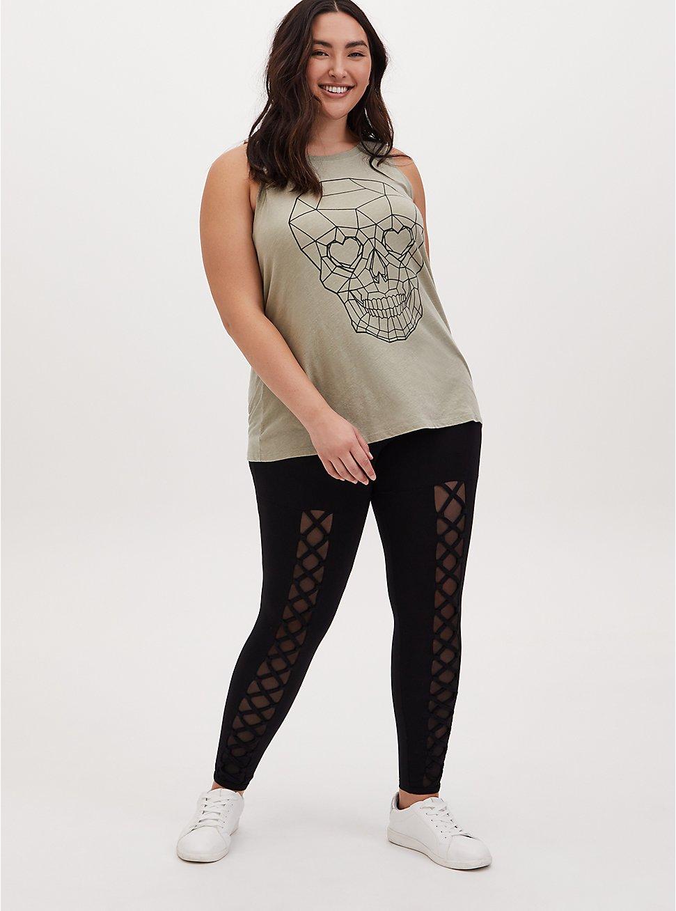 Premium Legging - Front Lattice Mesh Underlay Black, BLACK, hi-res