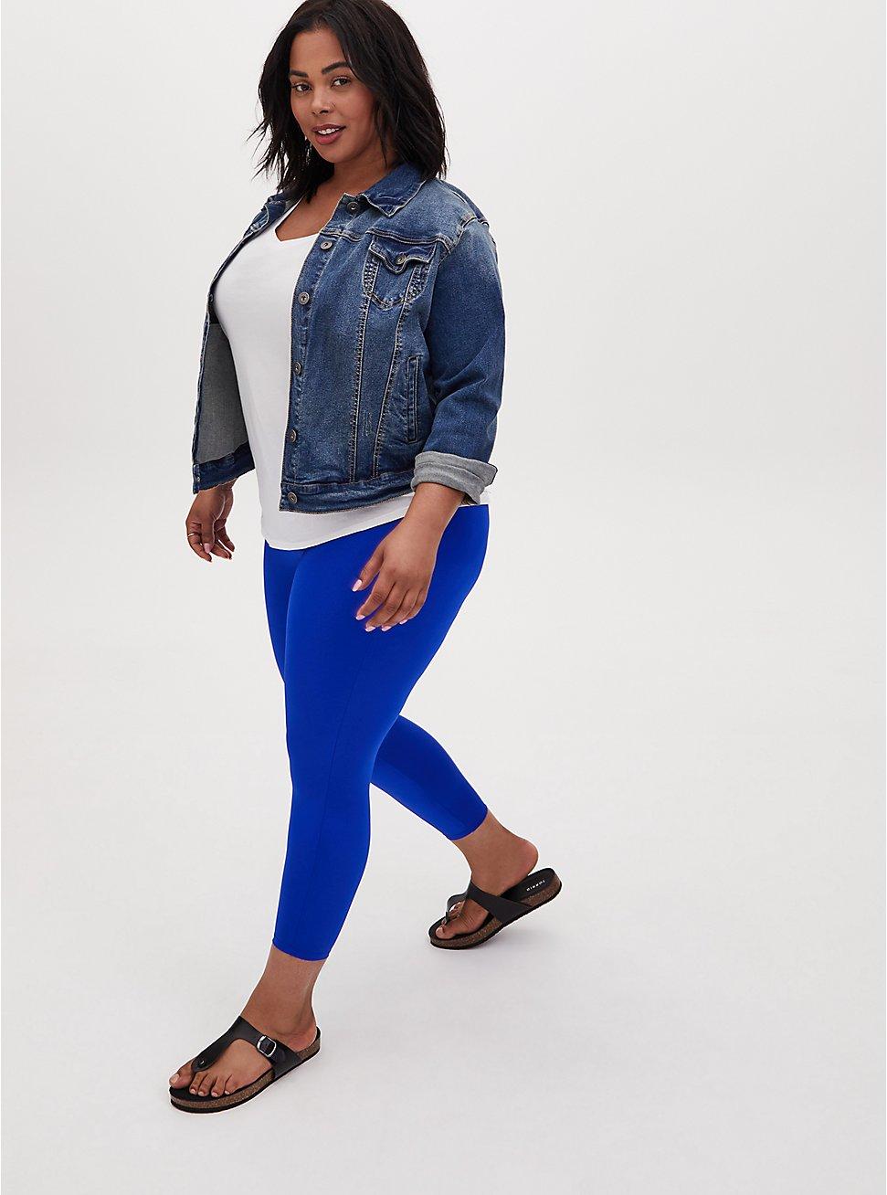 Crop Premium Legging - Liquid Electric Blue, BLUE, hi-res