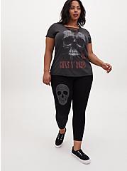 Plus Size Crop Premium Legging - Stud Skull Black, BLACK, alternate
