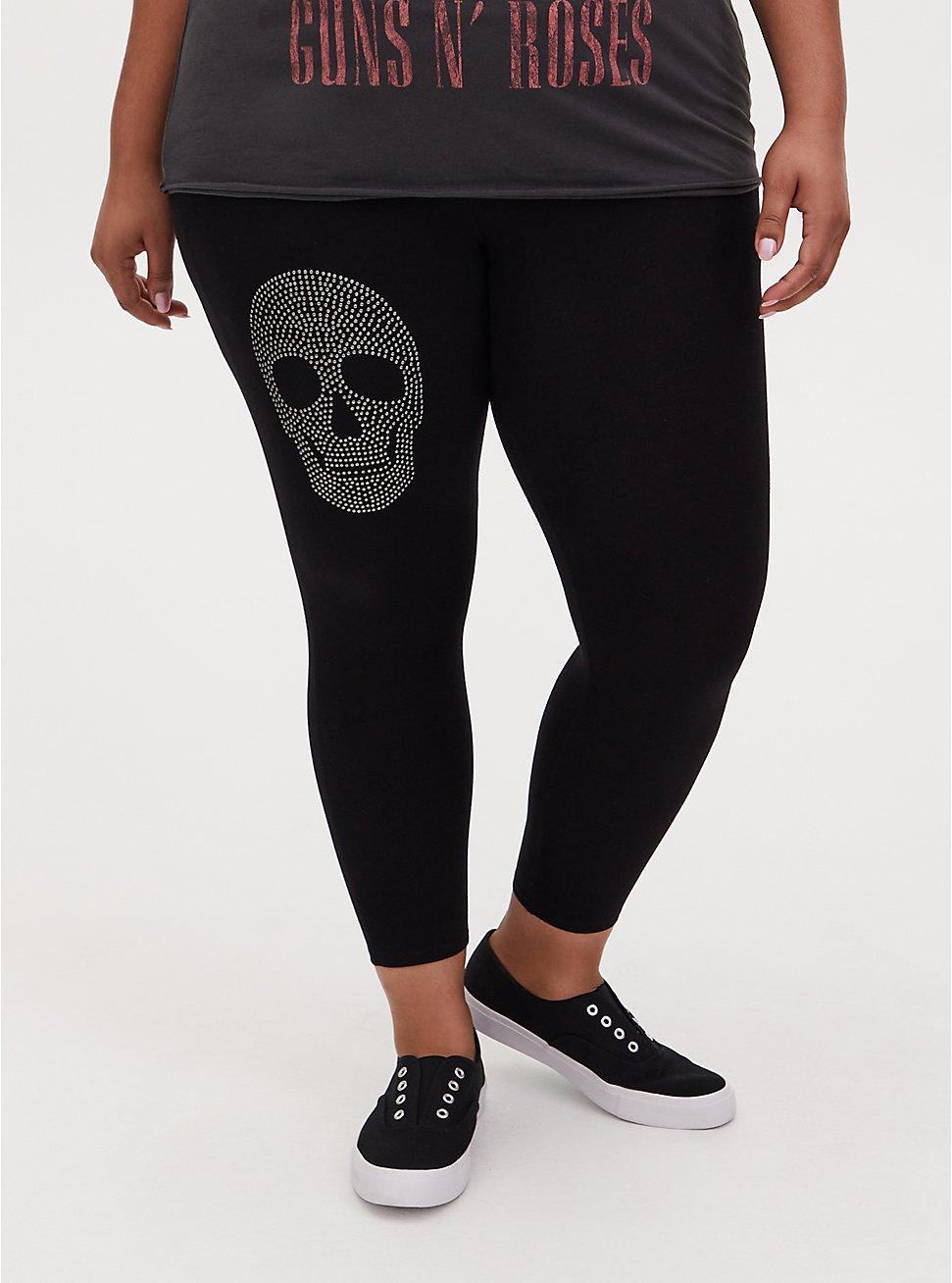 Plus Size Crop Premium Legging - Stud Skull Black, BLACK, hi-res