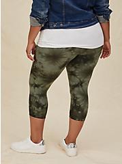 Capri Premium Legging - Tie-Dye Olive Green, GREEN, alternate