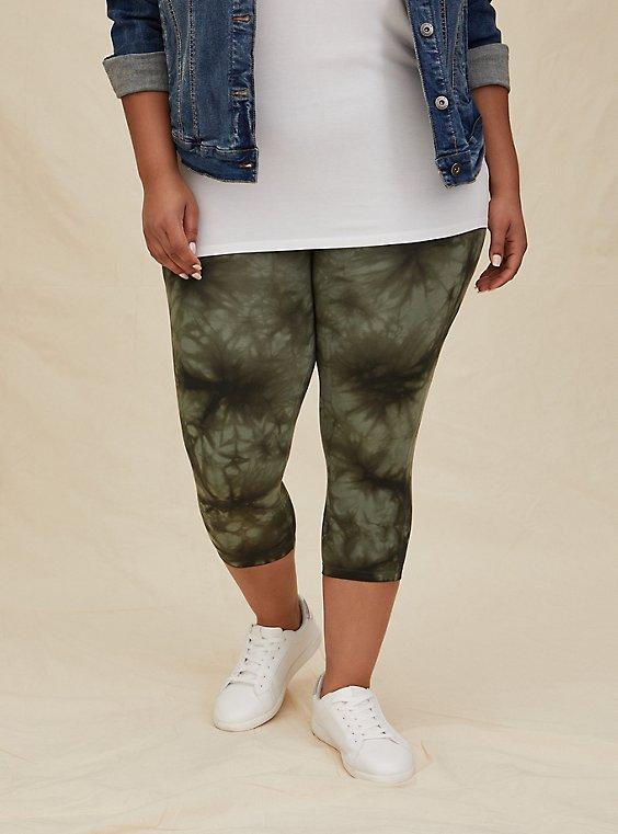Capri Premium Legging - Tie-Dye Olive Green, , hi-res