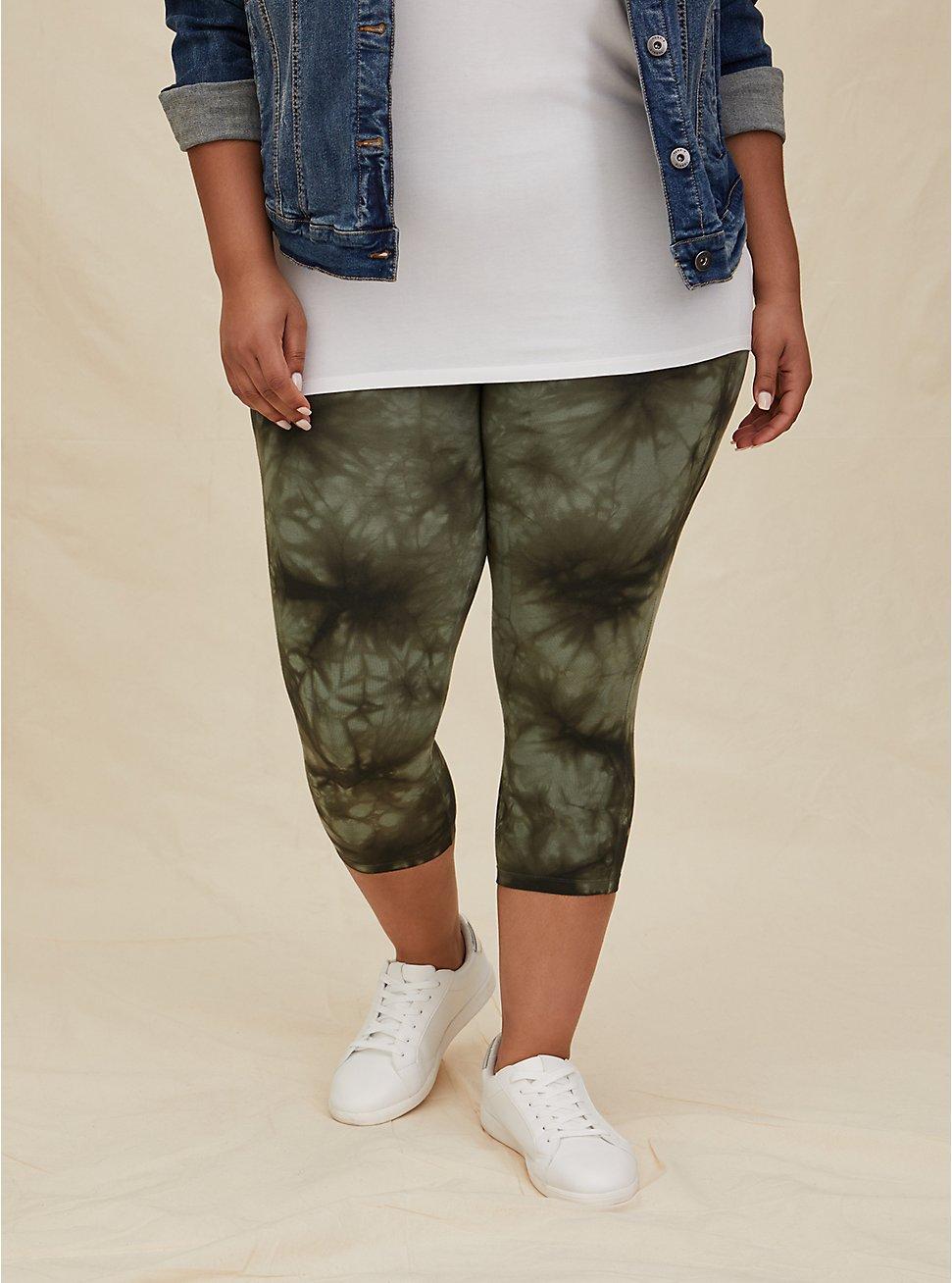 Capri Premium Legging - Tie-Dye Olive Green, GREEN, hi-res