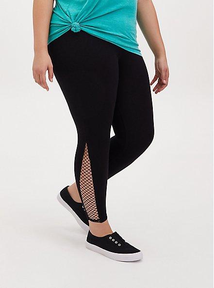 Crop Premium Legging - Fishnet Inset Black, BLACK, alternate