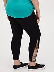 Crop Premium Legging - Fishnet Inset Black, BLACK, alternate