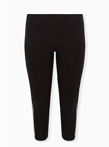 Crop Premium Legging - Fishnet Inset Black, BLACK, hi-res