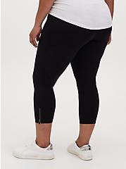 Crop Platinum Legging - Ponte Side Zip Black, BLACK, alternate