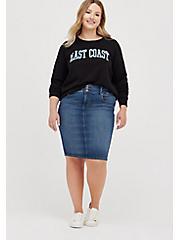 Jegging Denim Midi Skirt - Medium Wash, BRIGHTON, alternate