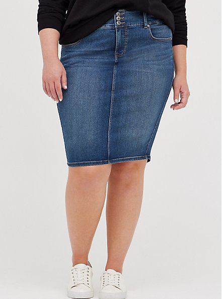 Jegging Denim Midi Skirt - Medium Wash, BRIGHTON, hi-res