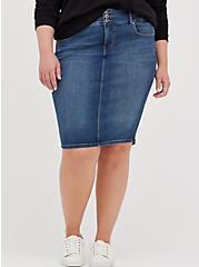 Jegging Denim Midi Skirt - Medium Wash, BRIGHTON, hi-res