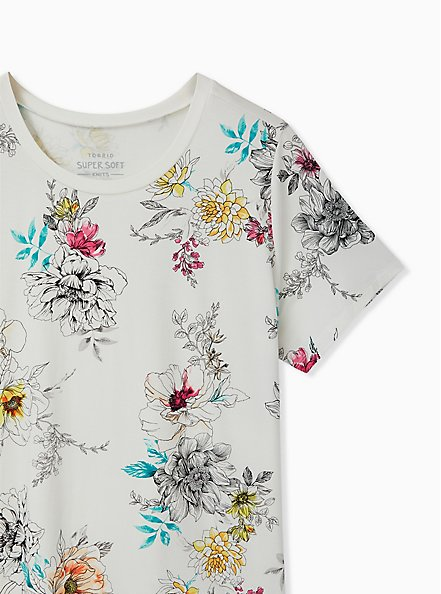 Slim Fit Crew Tee - Super Soft Floral White , CLOUD DANCER, alternate