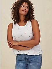 Plus Size Summertime Print Crew Tank - Vintage Burnout White, CLOUD DANCER, alternate