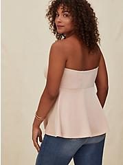 Pale Pink Scuba Knit Strapless Peplum Top, ROSE DUST, alternate