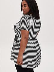 Super Soft Stripe Button Front Babydoll Tee, CLOUD DANCER, alternate