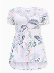 Super Soft Multi Tropical Leaves Button Front Babydoll Top, TROPICAL, hi-res
