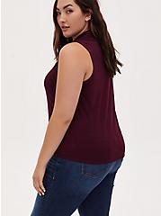 Plus Size Burgundy Purple Slub Tie Front Sleeveless Shirt, WINETASTING, alternate