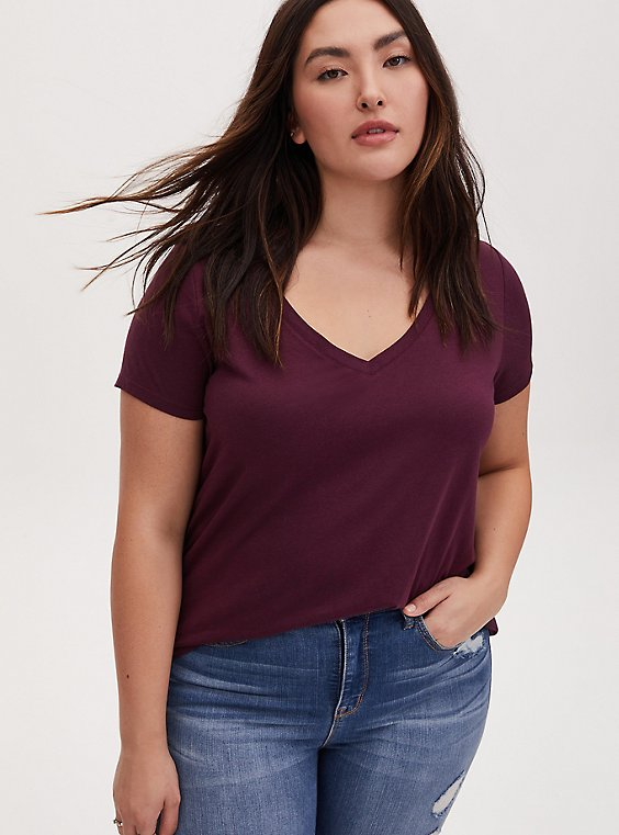 Classic Fit V-Neck Tee - Heritage Cotton Burgundy Purple, , hi-res