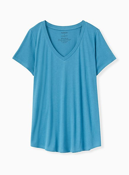 Classic Fit V-Neck Tee - Heritage Cotton Blue, FAIENCE, hi-res
