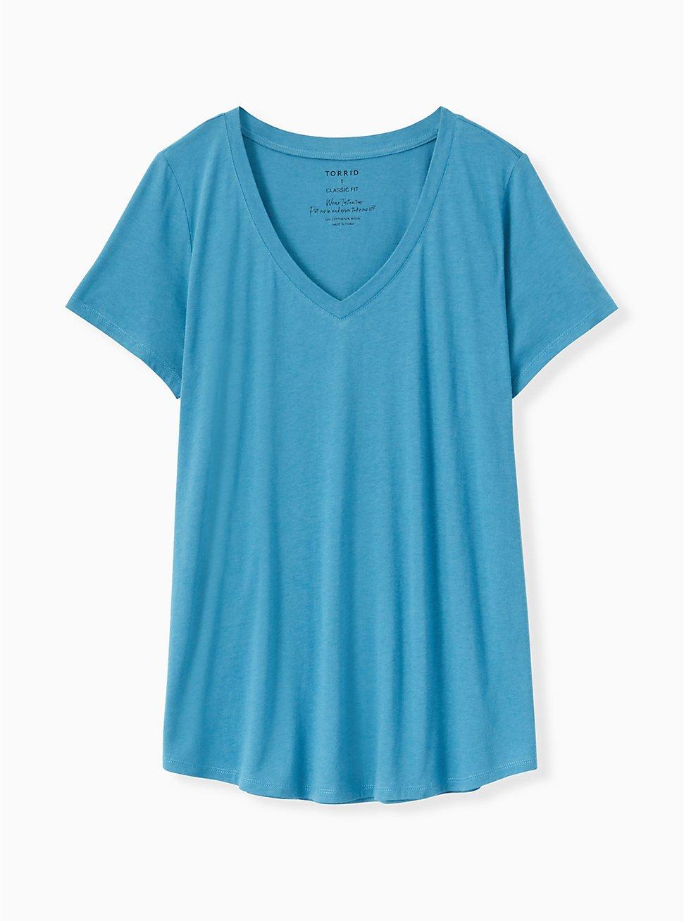 Plus Size Classic Fit V-Neck Tee - Heritage Cotton Blue, FAIENCE, hi-res