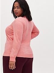 Coral Terry Burnout Sweatshirt, WILD ORANGE, alternate