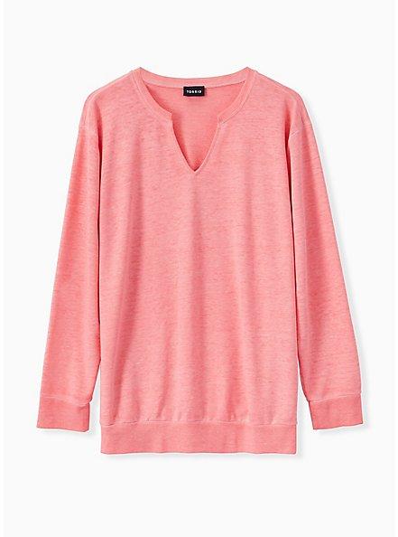 Coral Terry Burnout Sweatshirt, WILD ORANGE, hi-res