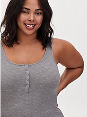 Super Soft Rib Heather Grey Henley Tank, HEATHER GREY, alternate
