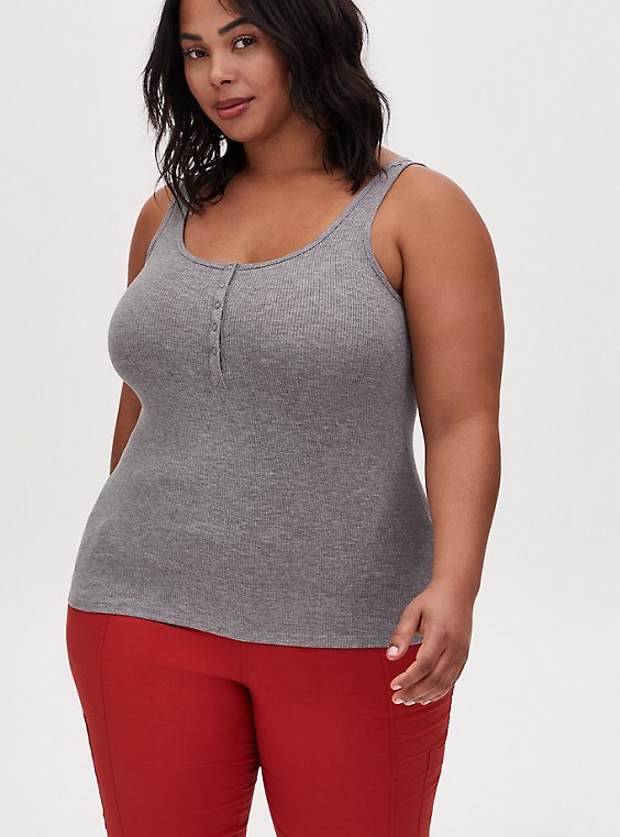 Super Soft Rib Heather Grey Henley Tank, HEATHER GREY, hi-res