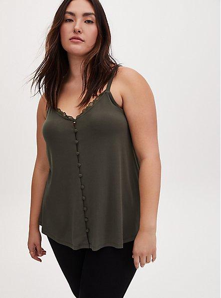 Olive Green Studio Knit Button Front Swing Cami, DEEP DEPTHS, alternate
