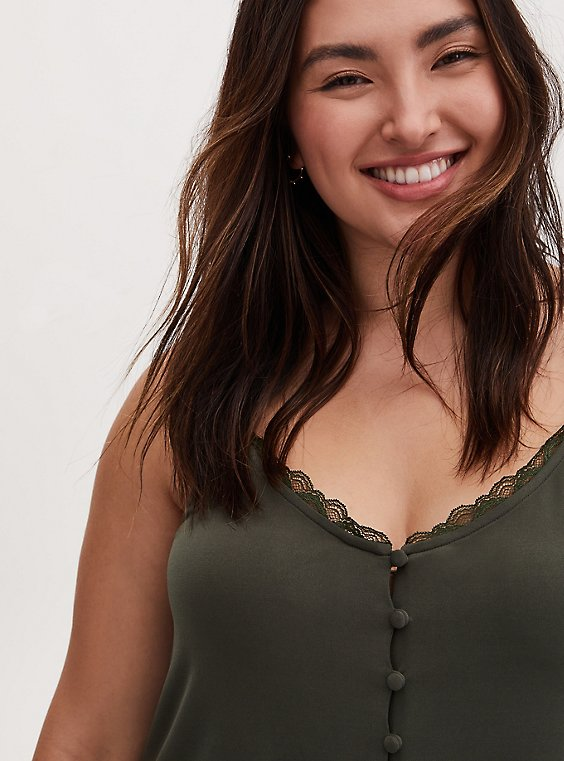 Olive Green Studio Knit Button Front Swing Cami, , hi-res