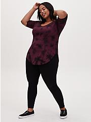 Favorite Tunic Tee - Super Soft Tie-Dye Burgundy Black & Purple, TIE DYE, alternate