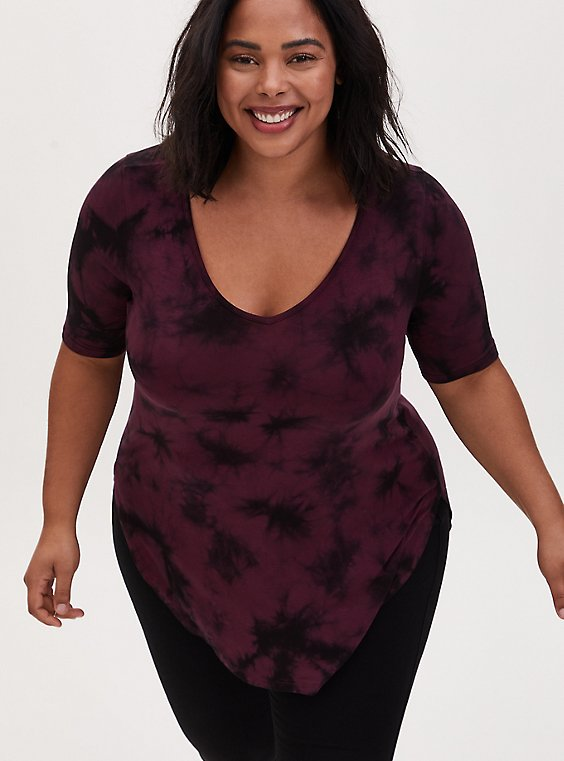 Favorite Tunic Tee - Super Soft Tie-Dye Burgundy Black & Purple, , hi-res