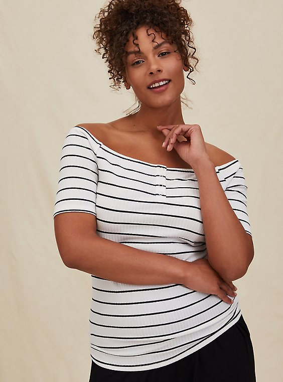 White & Black Stripe Rib Off Shoulder Henley Tee, , hi-res