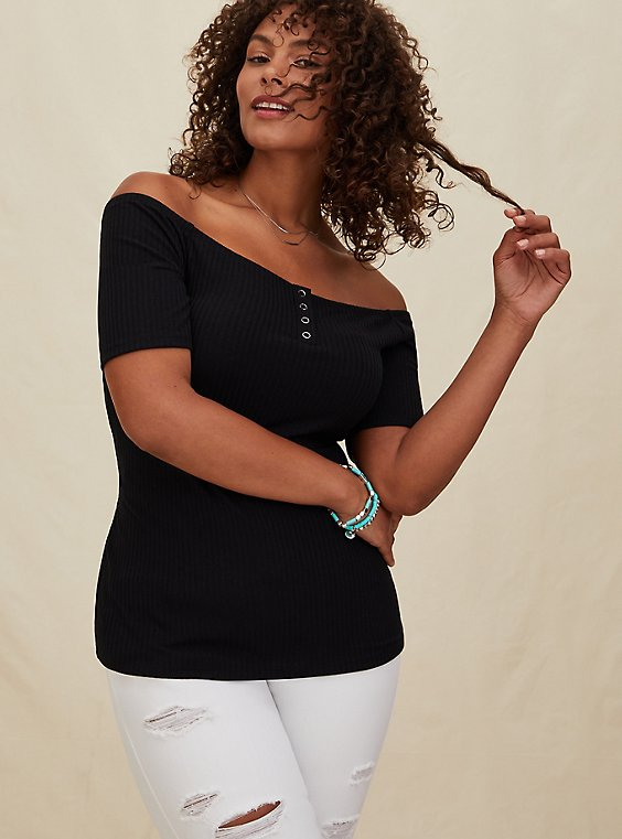 Black Rib Off Shoulder Henley Tee, , hi-res