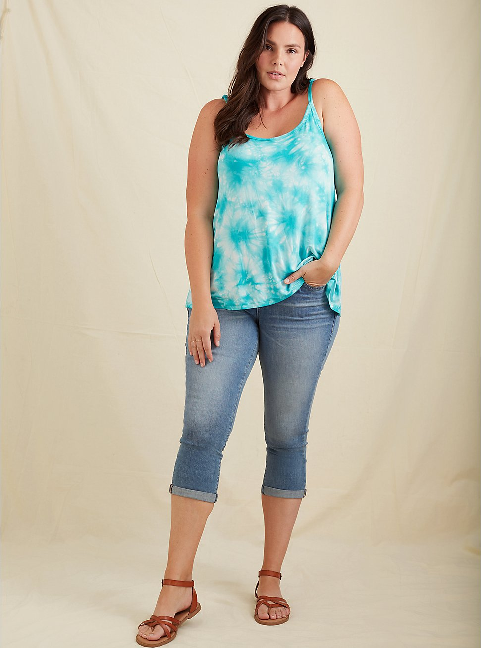Super Soft Turquoise Tie-Dye Swing Cami, DYNASTY GREEN, hi-res