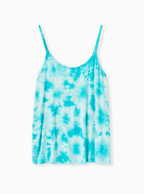 Super Soft Turquoise Tie-Dye Swing Cami, DYNASTY GREEN, ls