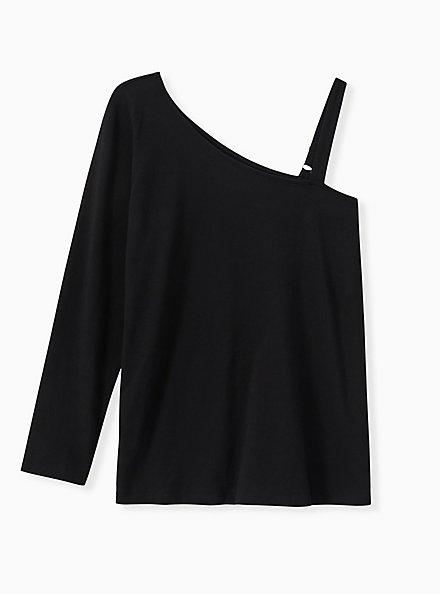 Black One Sleeve Foxy Tee, DEEP BLACK, hi-res