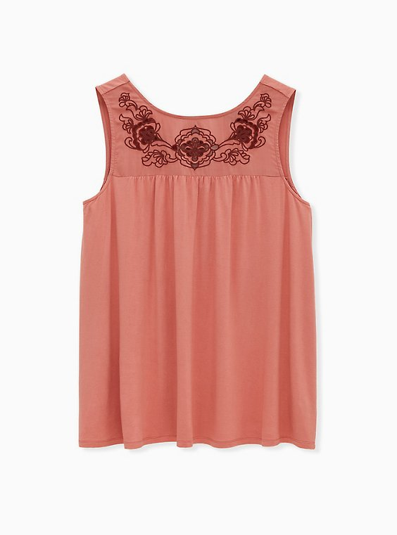 Dusty Coral Jersey Cutout Embroidered Tank, , hi-res