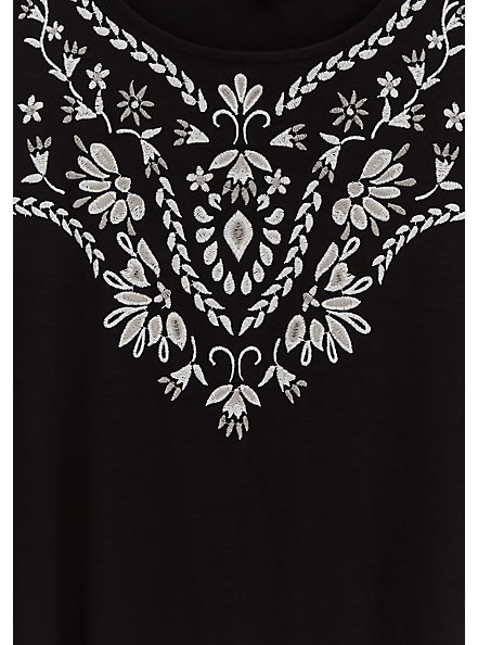 Black Embroidered Slub Jersey Crew Tank, BLACK, alternate